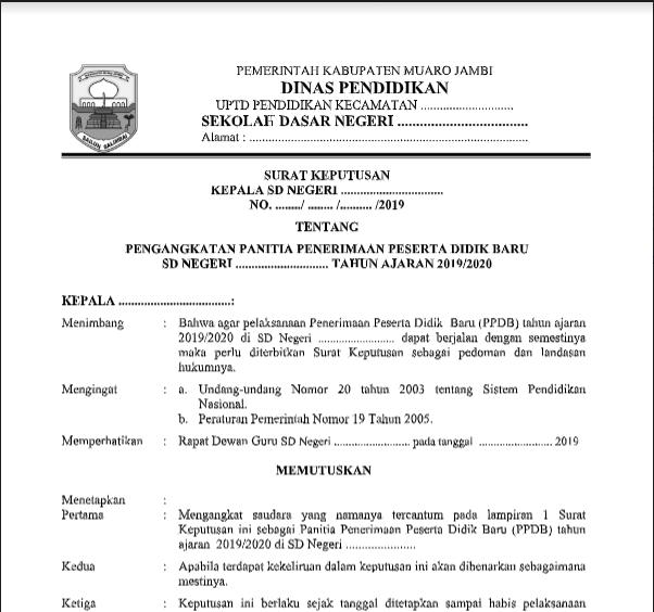 Contoh Sk Ppdb Beserta Berita Acaranya Dokumen Sekolah