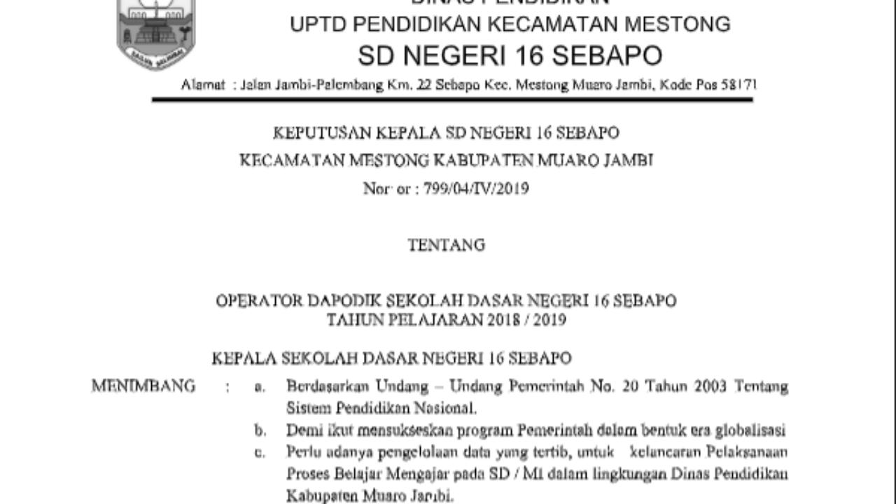Contoh Sk Operator Sekolah Sd Smp Dan Sma Dokumen Sekolah