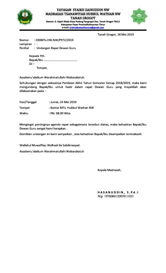 Contoh Surat Dinas Rapat Guru yang Benar - Dokumen Sekolah